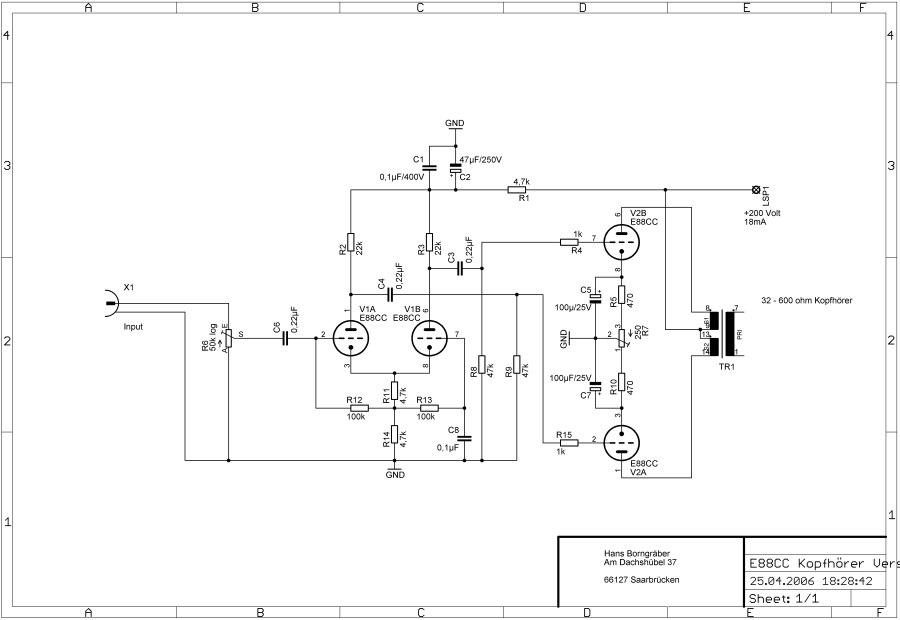 Schaltbild E88CC Kopfhoererverstaerker
